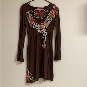 JWLA floral embroidered brown cowgirl dress, Small